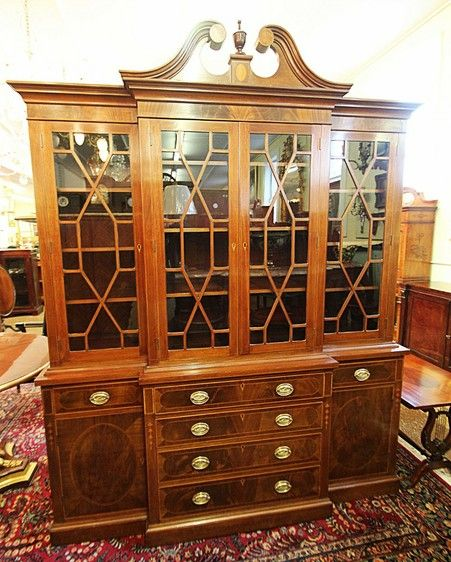 Inlaid Mahogany Federal Sheraton Breakfront China Cabinet Bookcase By Baker  - Mill House Antiques - Inlaid Mahogany Federal Sheraton Breakfront China Cabinet Bookcase