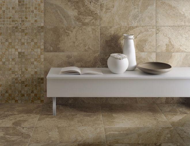 Kol tegels keramische tegels natuursteen look badkamer idee n uw badkamer - Badkamer keramische ...