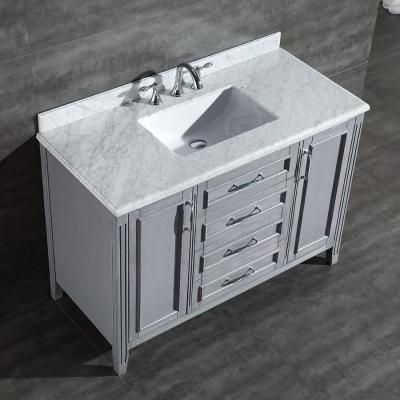 Ove Decors Daniel 48 In Vanity In Gray With Marble Vanity Top In Carrara White Daniel 48 Grey The Home Depot Bathroom Vanity Single Sink Bathroom Vanity Marble Vanity Tops