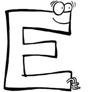 838 4 dibujo para colorear de la letra e | Escuela en la nube
