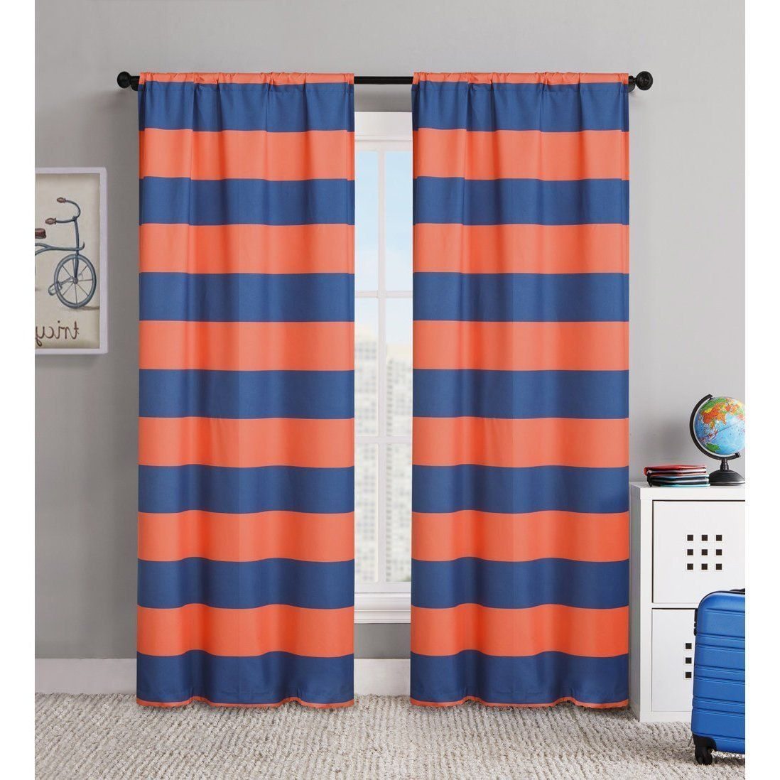 84 Inch Orange Navy Blue Rugby Stripes Curtains Pair Panel Set Tangerine  Drapes Cabana Striped Pattern