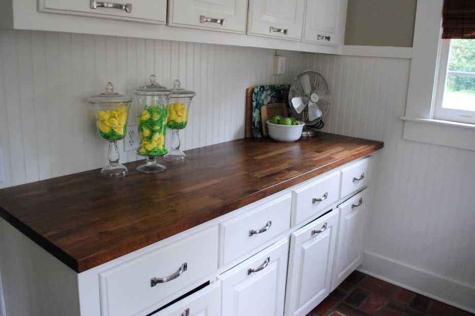 Elegant Dark Brown Butcher Block Counter Tops Feature White