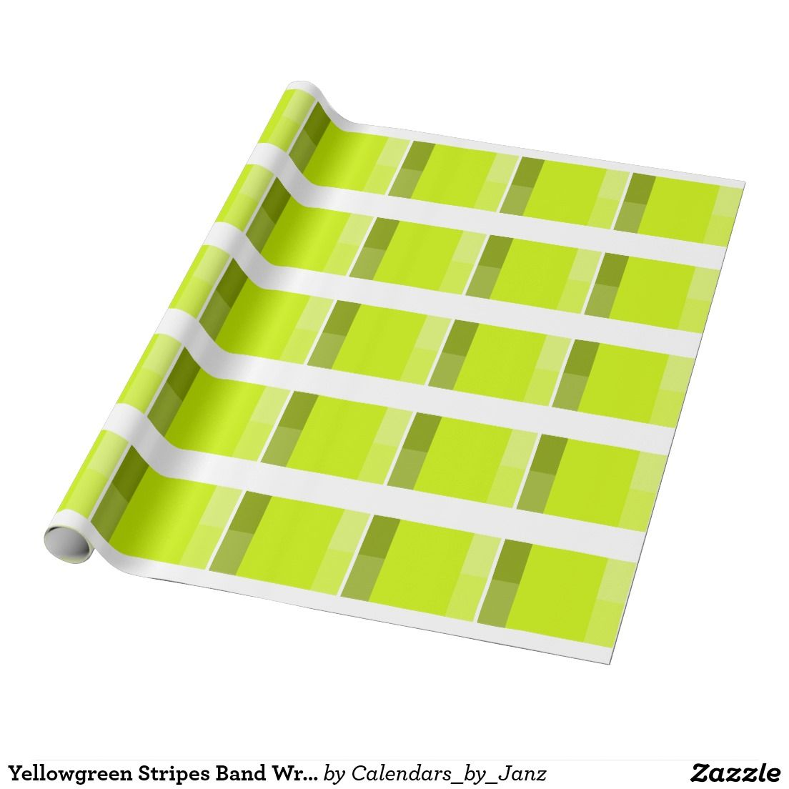 Yellowgreen Stripes Band Wrapping Paper by Janz