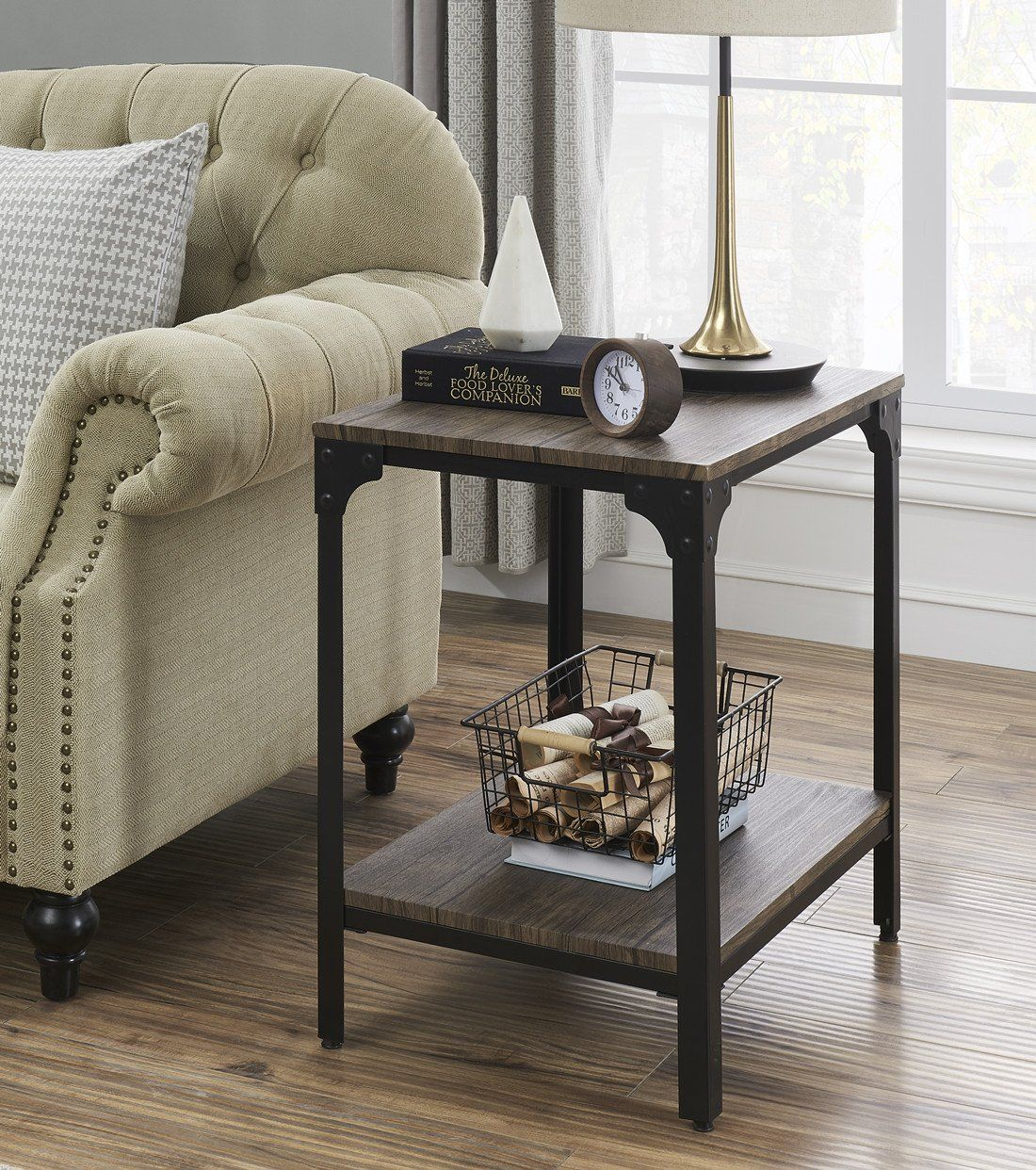 Rustic Farmhouse Side Table With Shelf Living Room Side Table