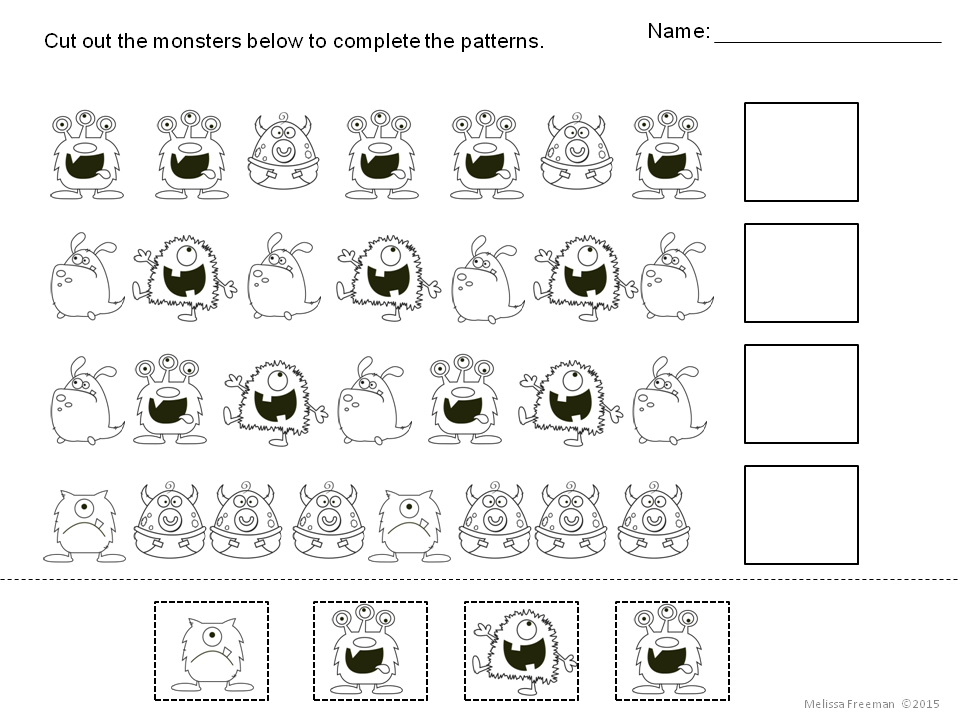 Use These 3 Free Monster Worksheets For Patterning Practice There Is Also A Create Your Own Mon Math Patterns Preschool Themes Free Halloween Math Activities