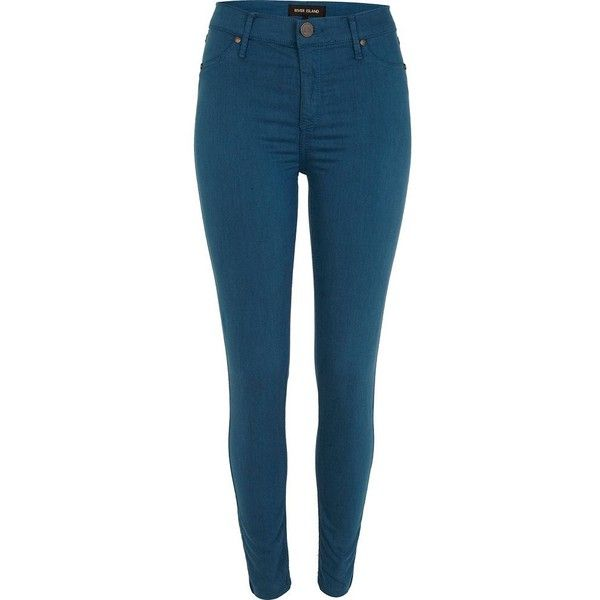 River Island Teal Molly Jeggings ($56) ❤ liked on Polyvore