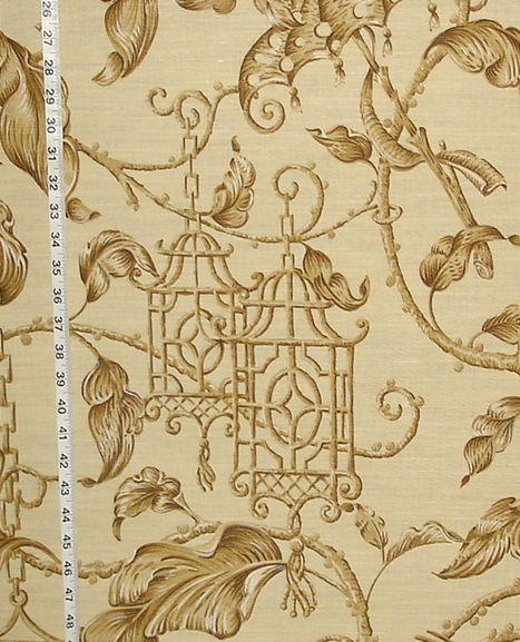 Schumacher fabric Oriental bird pagoda tea house from Brick House Fabric: Novelty Fabric.
