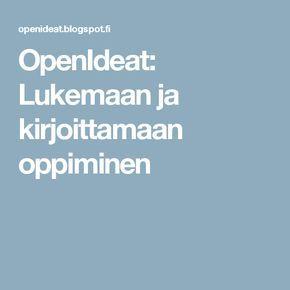 OpenIdeat: Lukemaan ja kirjoittamaan oppiminen