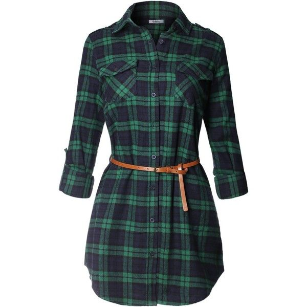 BodiLove Women's Trendy Belted Button Up Plaid Flannel Cotton Dress ($5.36) ❤ liked on Polyvore featuring dresses, green dress, button down dress, tartan dress, flannel dresses and belted dresses