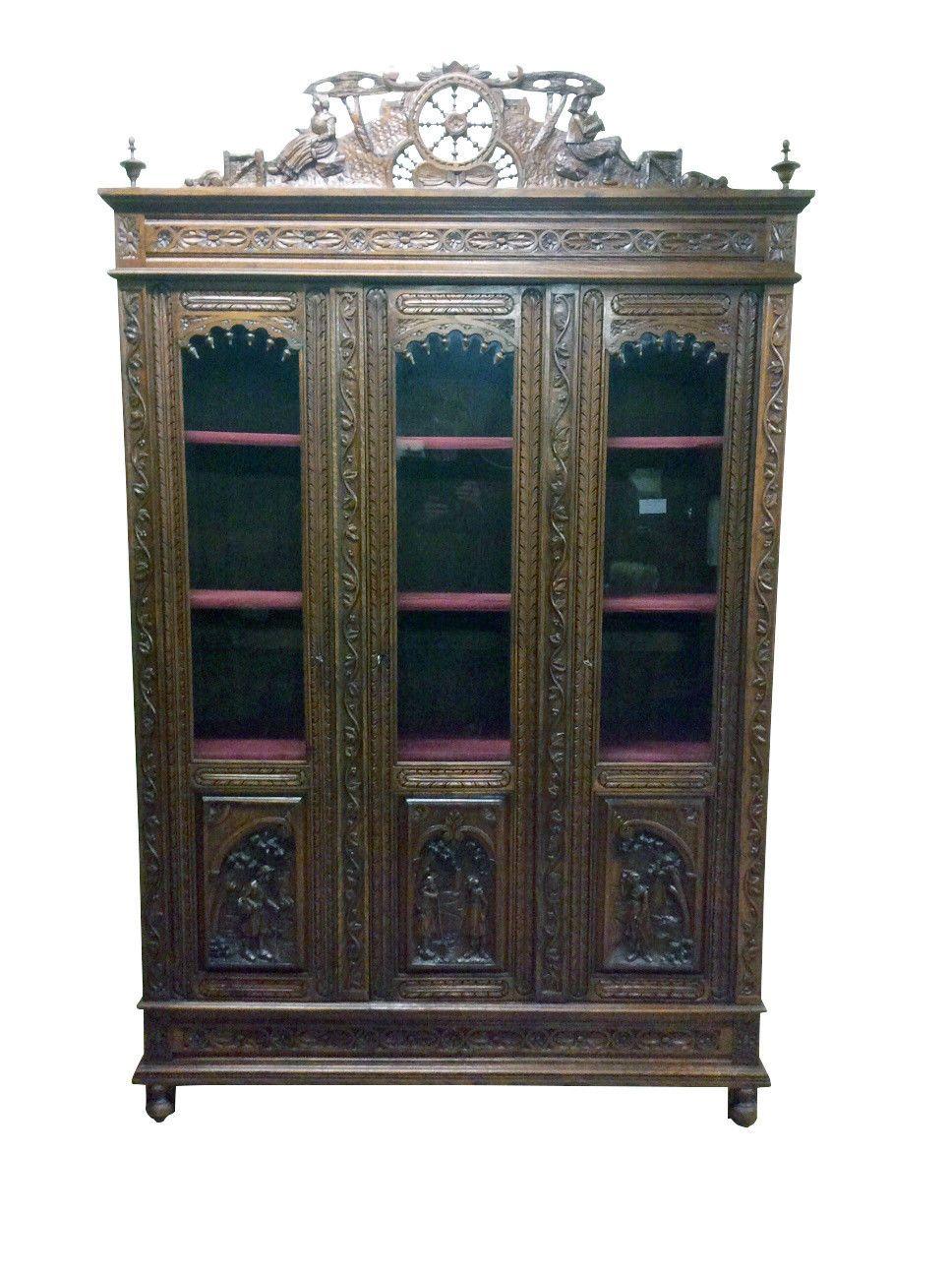 Unique Antique French Breton Cabinet Or Bookcase Oak 19th Century Ebay French Antiques Unique Antiques Antiques