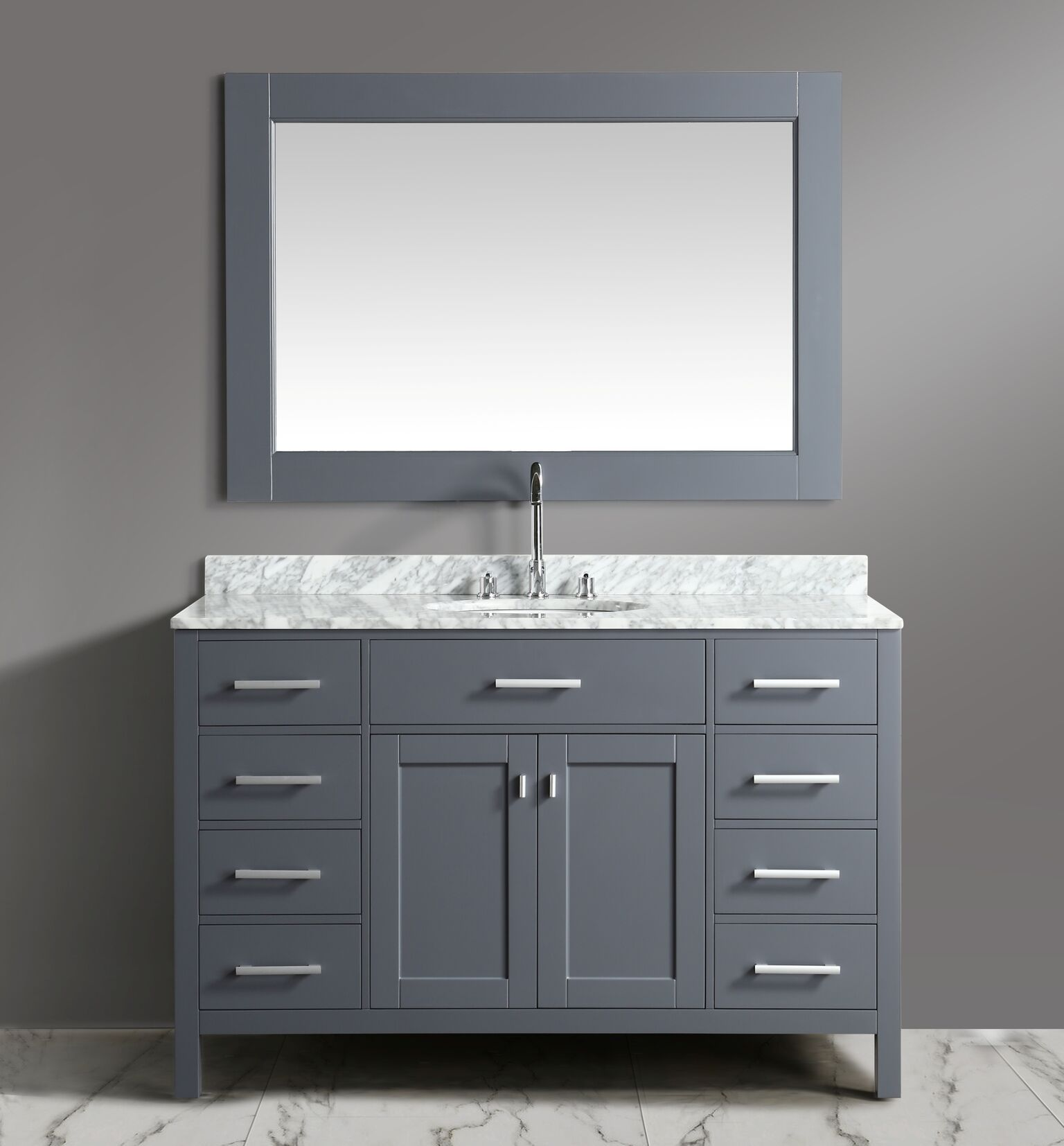 54 Inch Single Sink Bathroom Vanity Set Grey Finish With White
