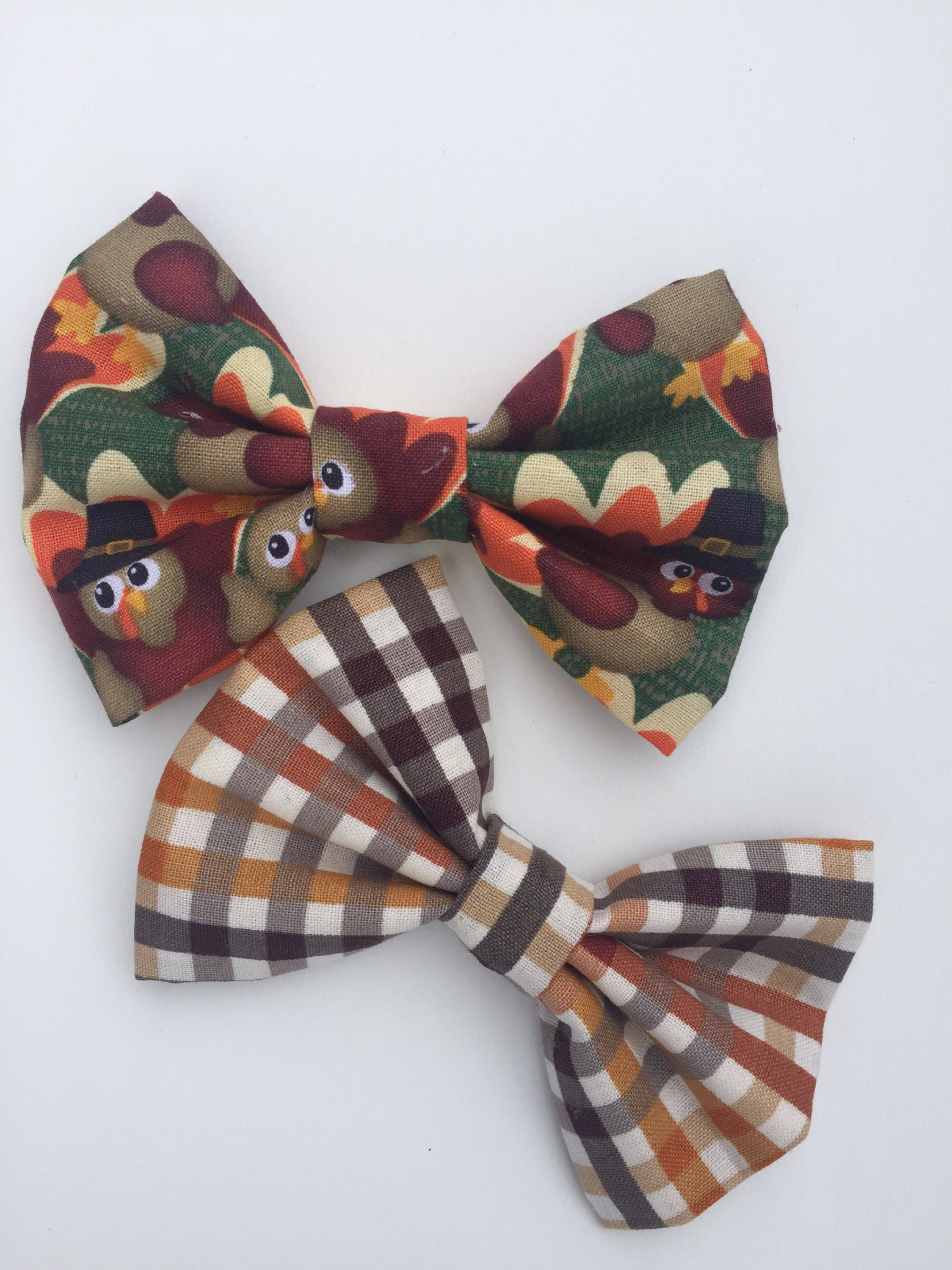 Dog Bow Ties Fall Dog Bows Thanksgiving Dog Bow Ties Cat Bow Ties Turkey Fall Plaid Bow Ties Large Dog Pet Photo Props By Polkadotthreads On Etsy