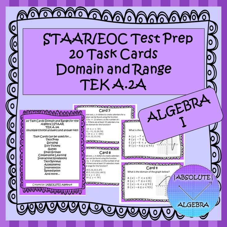STAAR EOC Algebra 1 Task Cards A.2A Domain and Range ...