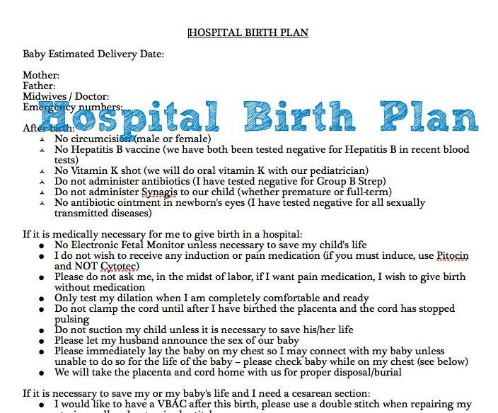 Example Of Hospital Birth Plan Free Printable  Birth Doula And