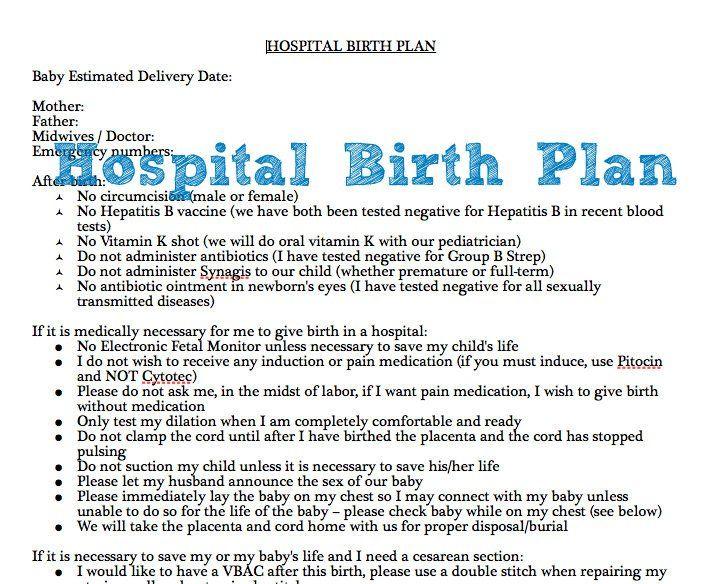 example of hospital birth plan  free printable
