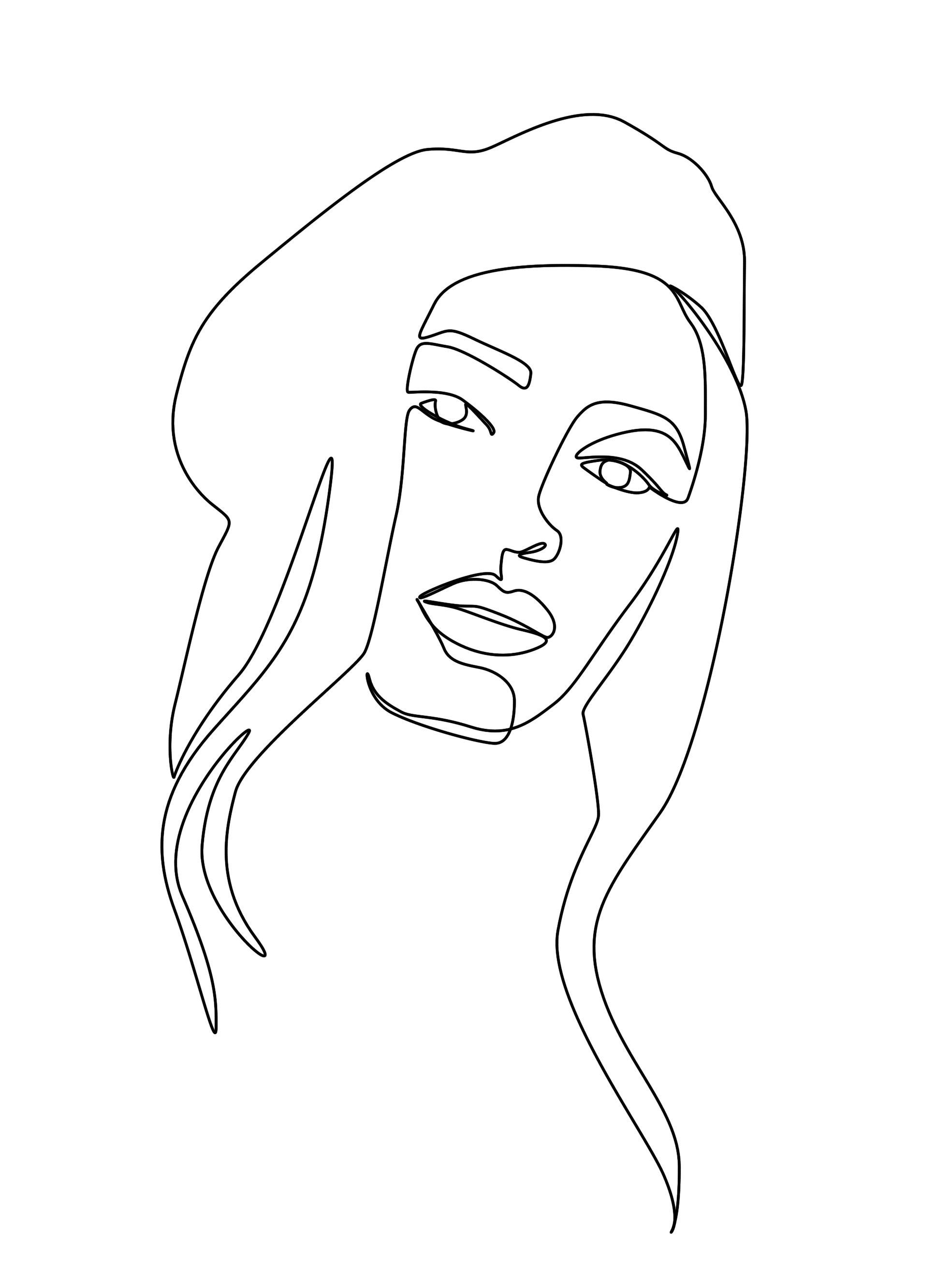 Photoshop Lineart Linework Portrait Ink Tattoo Line