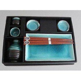 Miya Japan Ceramic Complete Serving Sushi Gift Set For Two   Ocean Blue Miya  Japanese Tableware Gifts