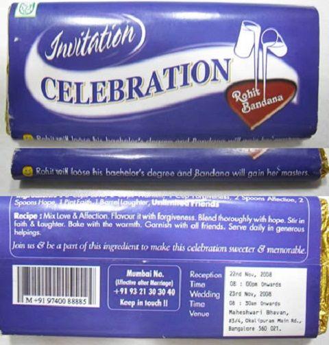 Cadbury Packaging Wedding Invitation
