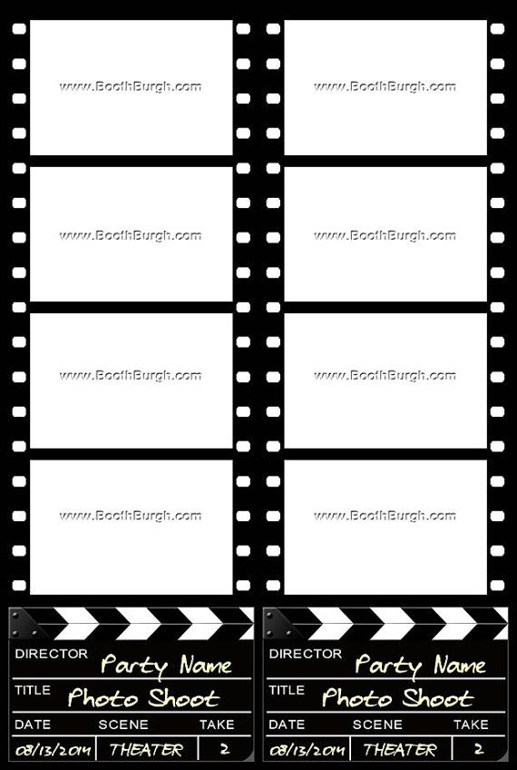 Filmstrip and Clapper Board photo booth printer template ...