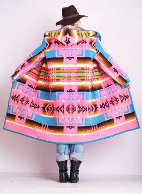 Vtg-RAINBOW-PENDLETON-Indian-Native-NAVAJO-Wool-Hood-Draped-Jacket-BLANKET-COAT