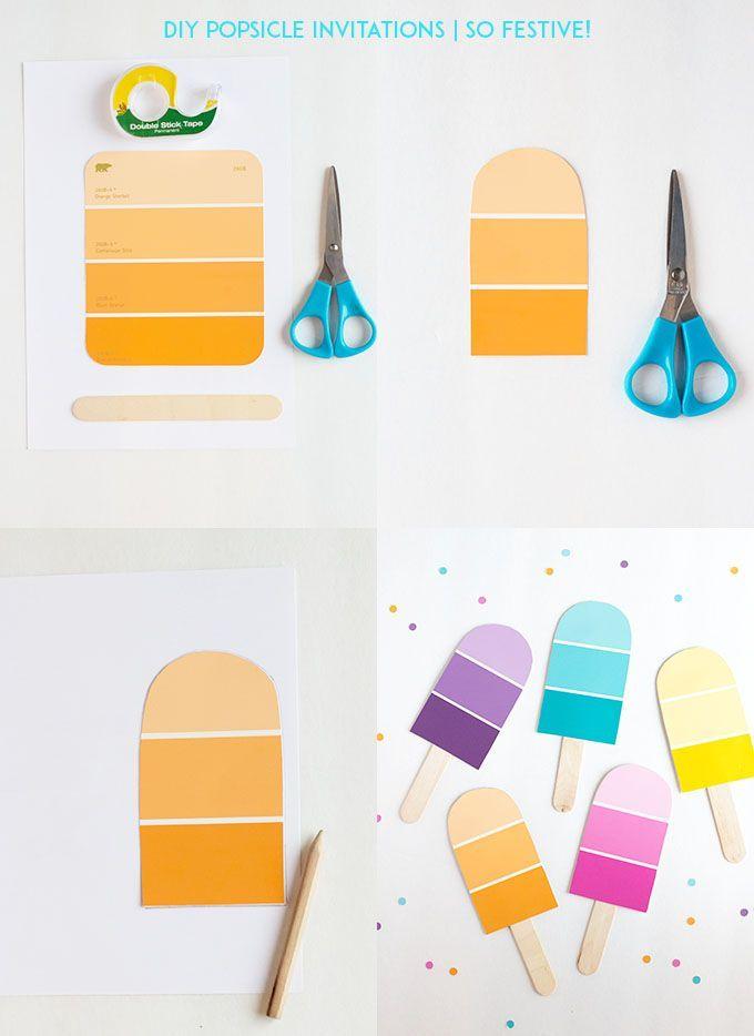DIY Popsicle-Party Einladungen