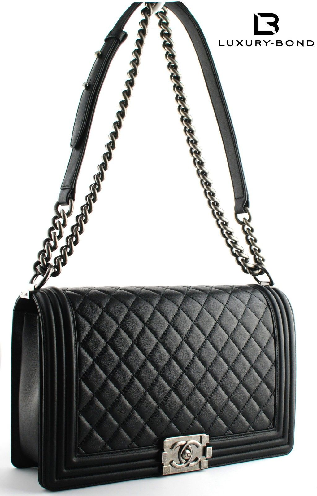 cf47ea375bfa66 Chanel Black Boy Bag Chanel Le Boy New Medium Size Black Metallic Calf Flap  Bag