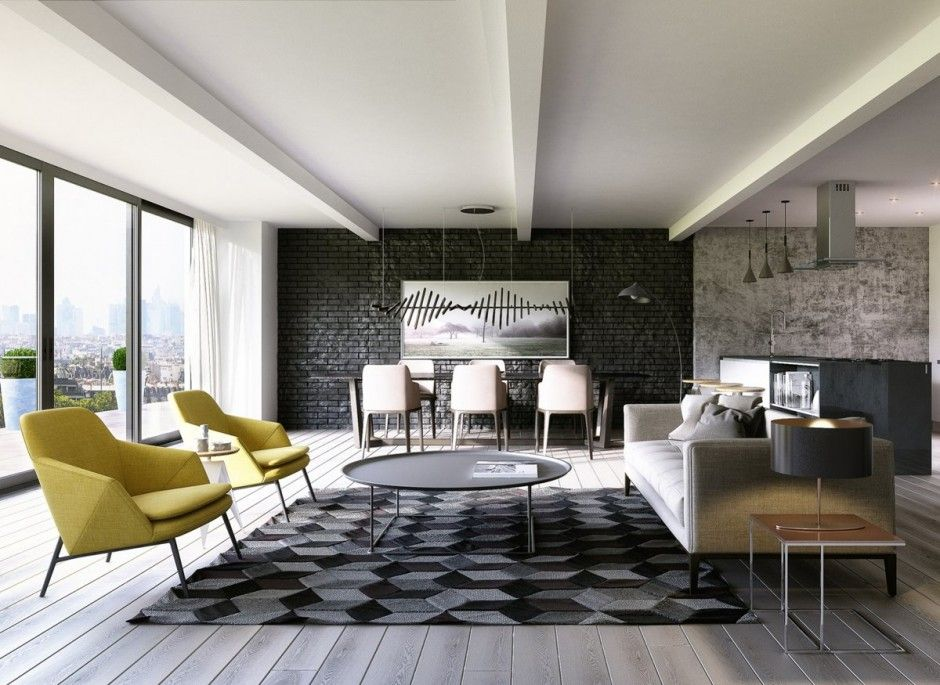 Living Room Dark Grey Brick Accent Wall In Living Space Paired With Stylish Armchair And Sofa Plus Dining Table Attractive Brick Wall As A Livi Brick Living Room