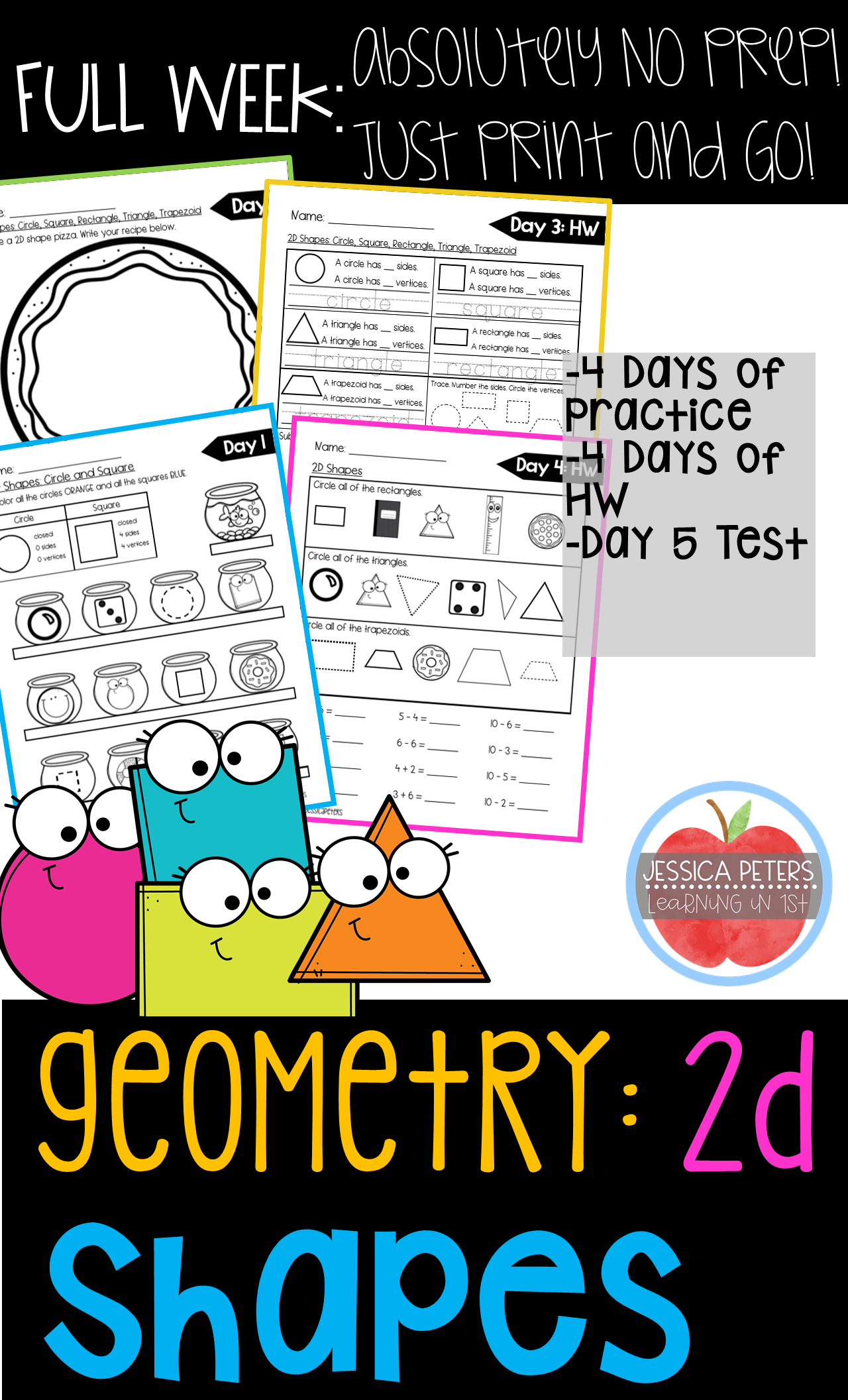 First Grade Math Geometry 2d Plane Shapes Full Week