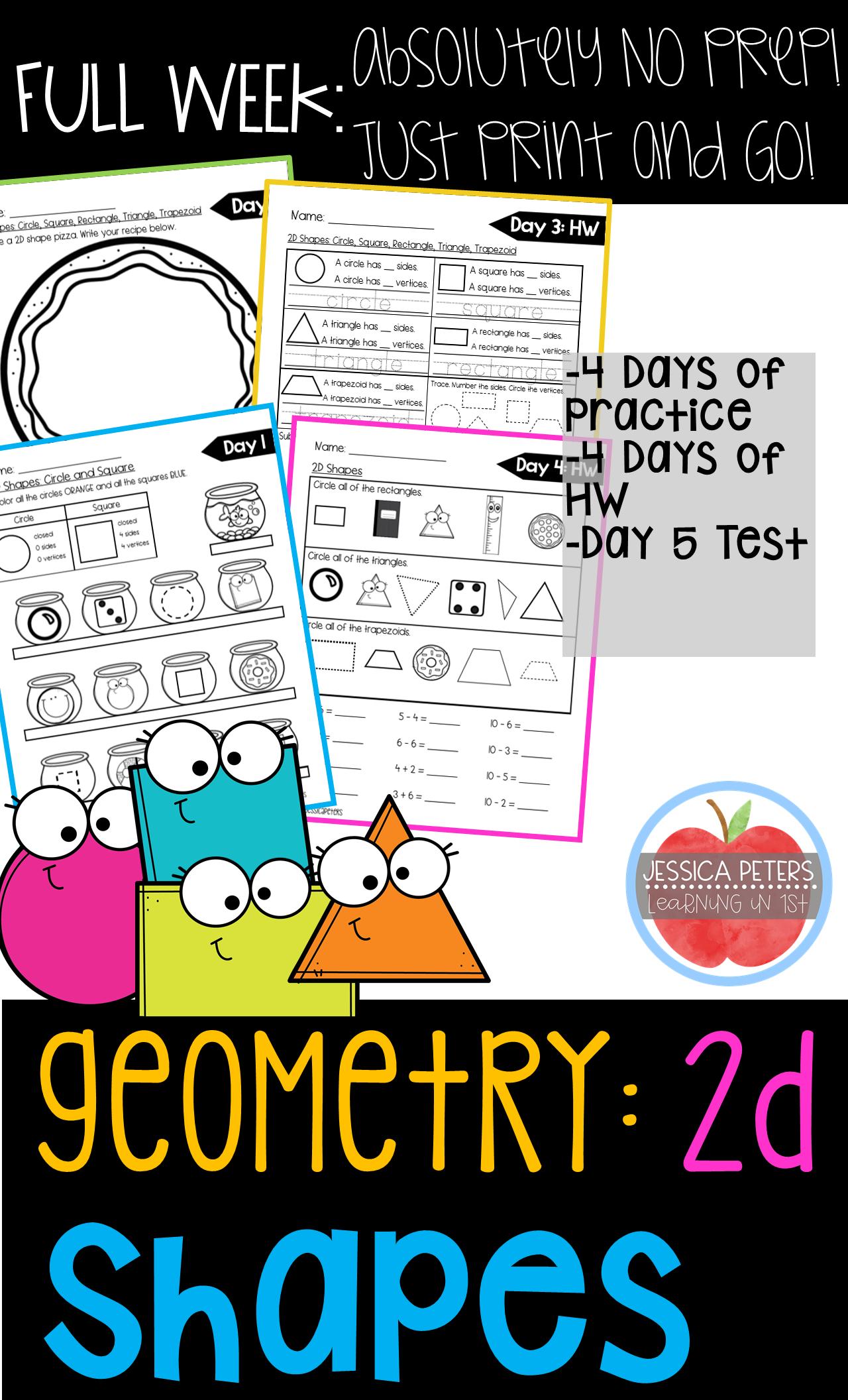 First Grade Math Geometry 2d Plane Shapes Full Week
