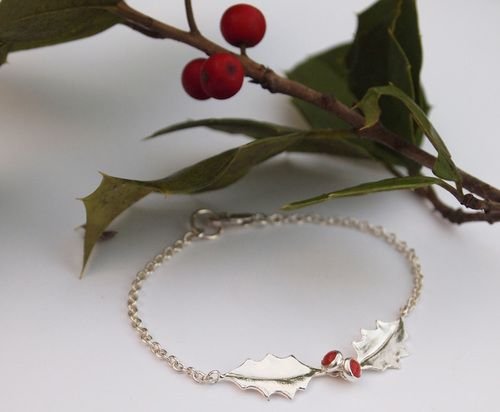 Holly Bracelet Jewelry by Meg Talley Hand-carved Christmas
