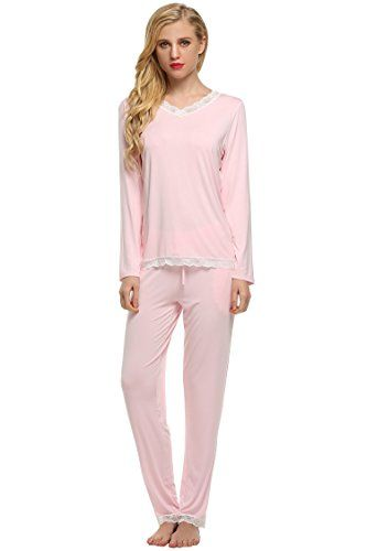 b6f1baaba8 Ekouaer Womens Sleepwear Cotton Long Sleeve Pj Set with Pajama Pants(Pink