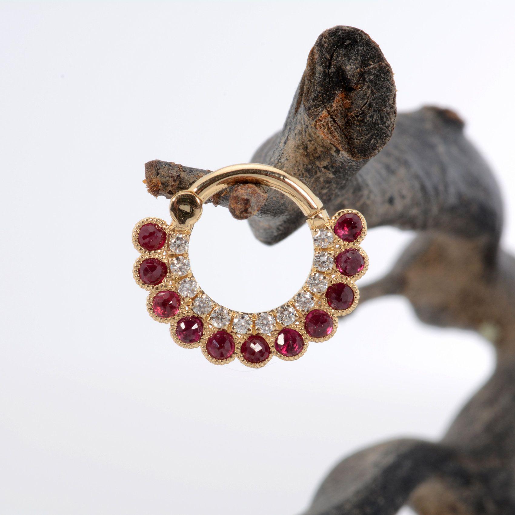 3866e49565ec2 14k Solid Gold Septum Сlicker White Diamonds Ruby Stone 16G - Helix ...