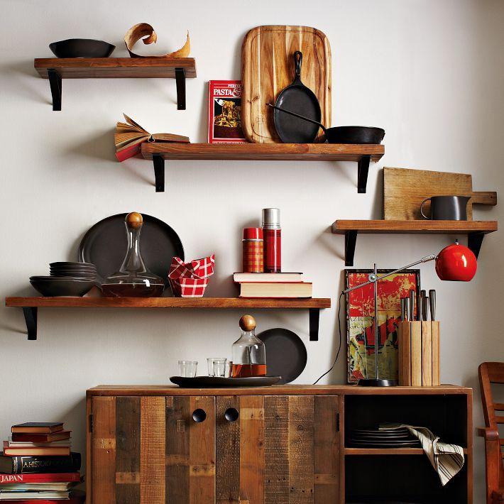 Kitchen Shelf Arrangement: Consider An Arrangement That's Offset . Reclaimed Wood