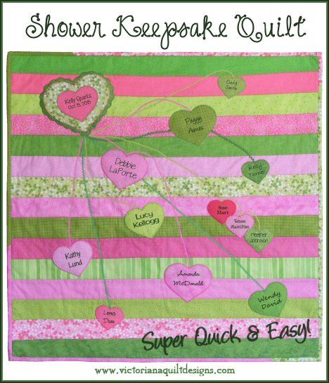 Super Quick & Easy Bridal or Baby Shower Keepsake Quilt #quilting #signatures #memory #jellyroll