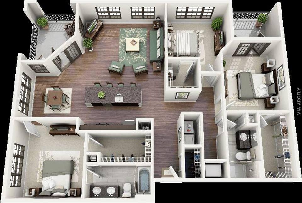 Dekorasi Rumah Minimalist 50 Denah Rumah Minimalis 3d 3 Kamar Tidur 2 Lantai Dan 2 Kamar Tidur Denah Rumah Rumah Minimalis Desain Rumah