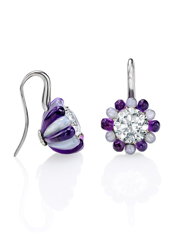 Dusk earrings, $210,000. Currently available at Sotheby's Diamonds. In these Sotheby's Diamonds earrings, amethyst and grey moonstone surround internally flawless, round brilliant cut diamonds, the pair totalling 4.18ct.