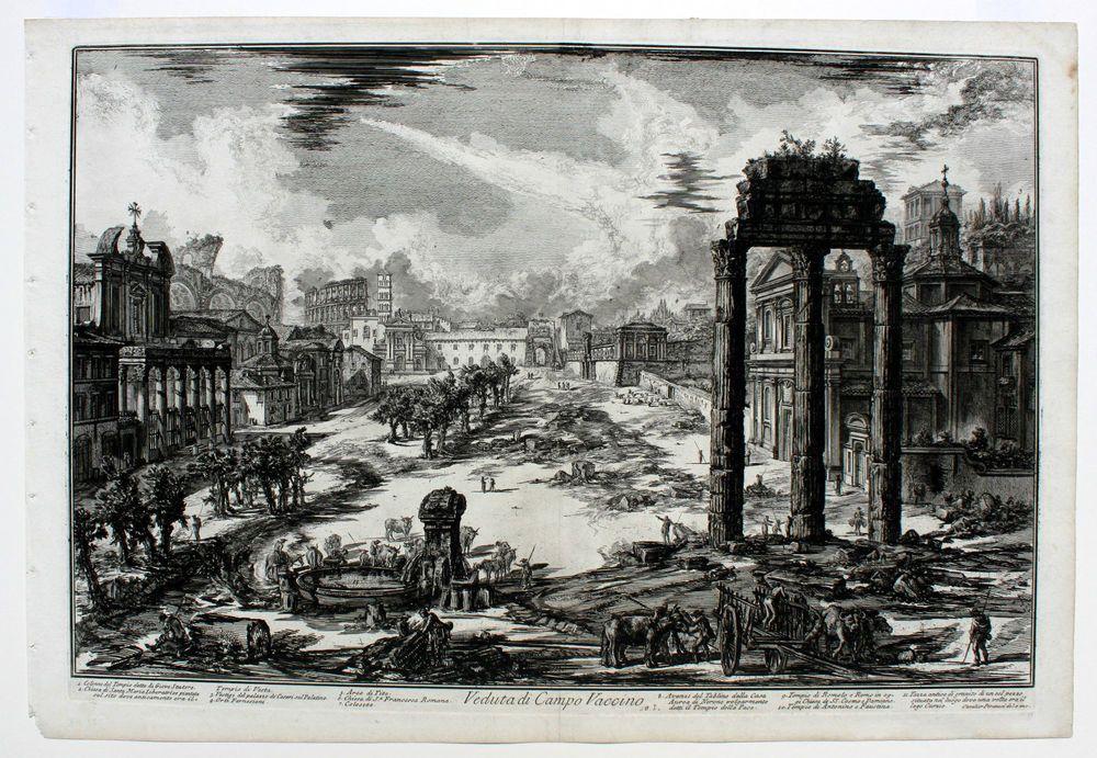 Giovanni Battista Piranesi Veduta with the Temple of Jove Giclee Canvas Print