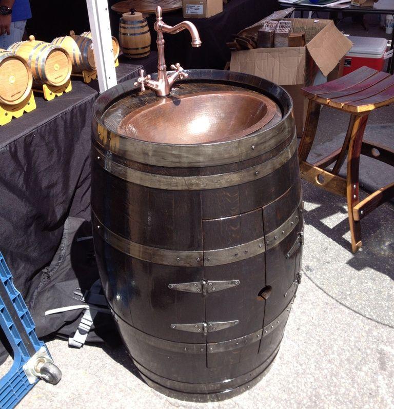 $1299 Wine Barrel Vanity - Deep South Barrels