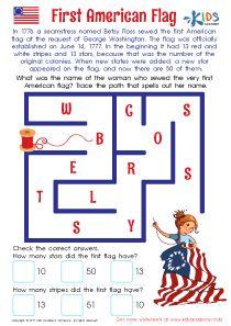 American Flag Worksheet Kindergarten