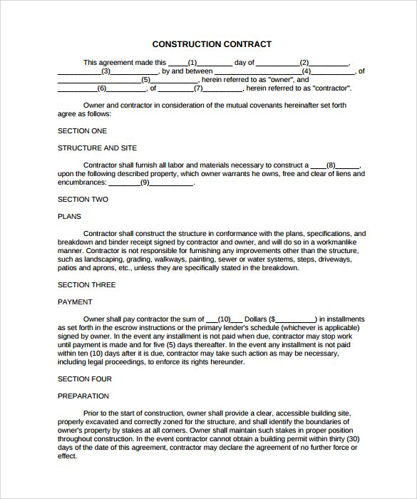 Simple Construction Contract 8 Construction Contract Template