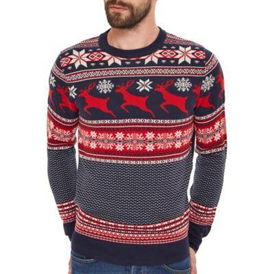 Burton Navy reindeer fairisle Christmas jumper- at Debenhams.com ...