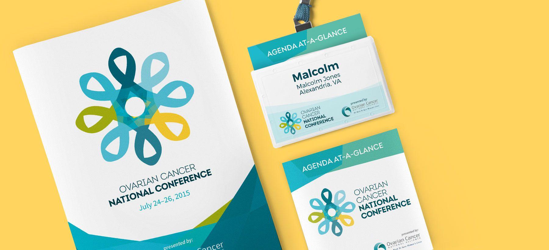 conference program  badge  and pocket agenda print design samples