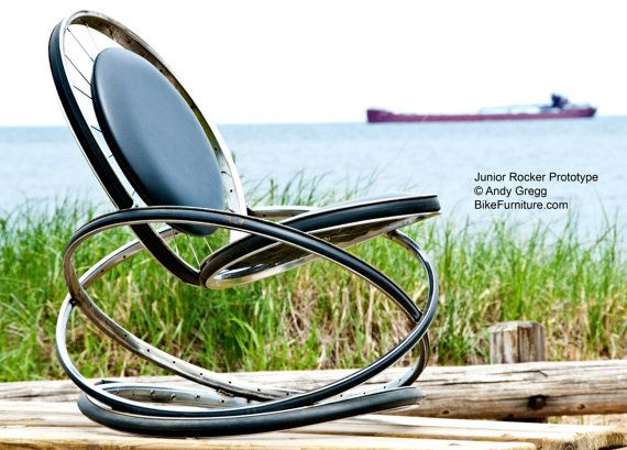 Recycled Bike Part Rocking Chair With Black Cushions.