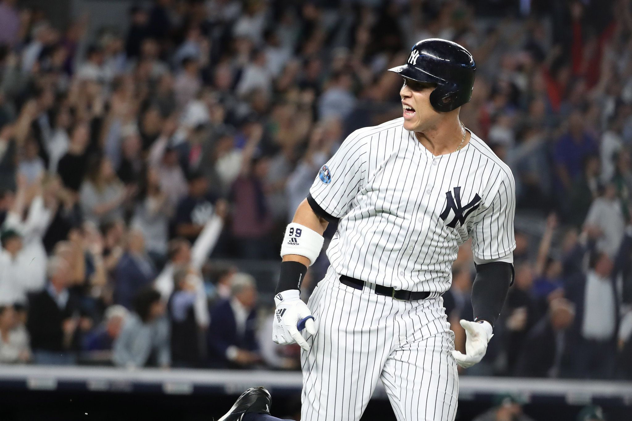 Yankees Blast Away Nerves And The A S For A Wild Card Win Yankees New York Yankees New York Yankees Baseball