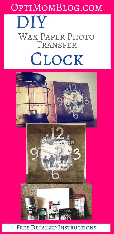 Diy phototowood wax paper transfer clock diy wax wax