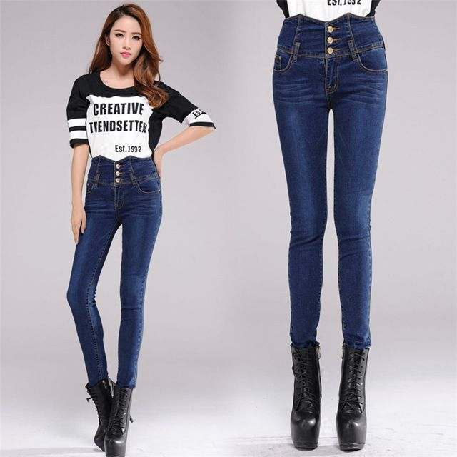 Good-Quality-Jeans-Woman-Spindly-Legs-Magic-Button-Jeans-High ...