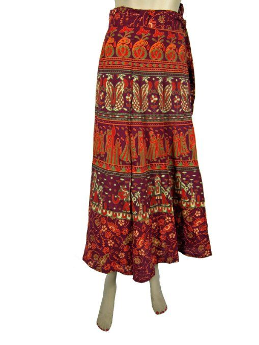 Amazon.com: Bohemian Long Skirt Womens Cotton Beach Wrap Around Skirts Dress: Clothing