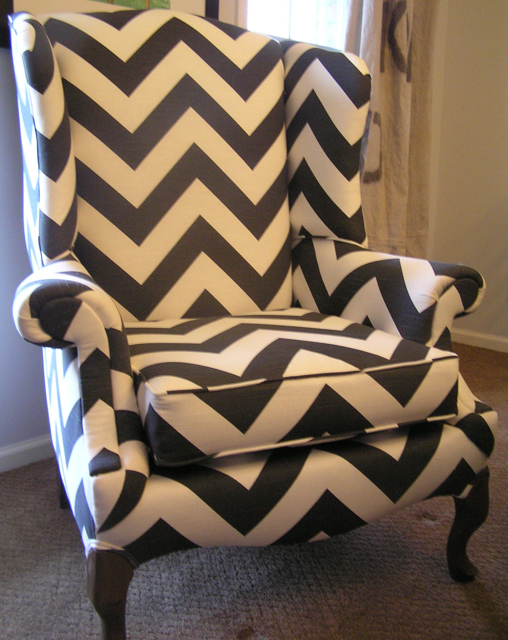 Chevron wing chairs - Premier Prints Charcoal Gray Chevron Fabric On Upcycled Goodwill Wingback Chairs