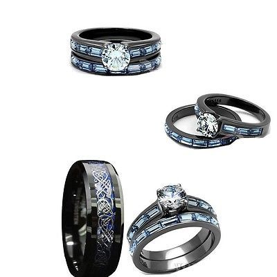His tungsten and her black blue stainless steelcz engagement