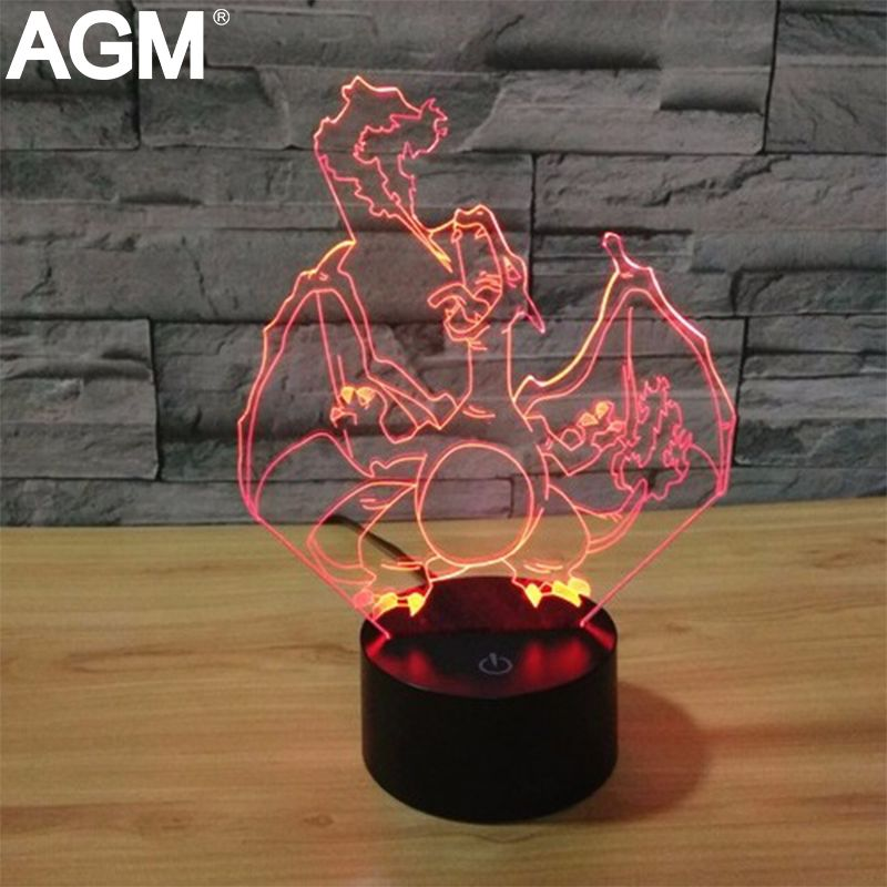 New Pokemon Go Charizard 7 Color 3d Lamp Mega Night Lights 3d Touch Usb Visual Table Lamp Pikachu 3d Nigh Color Changing Lamp Night Light Kids 3d Illusion Lamp